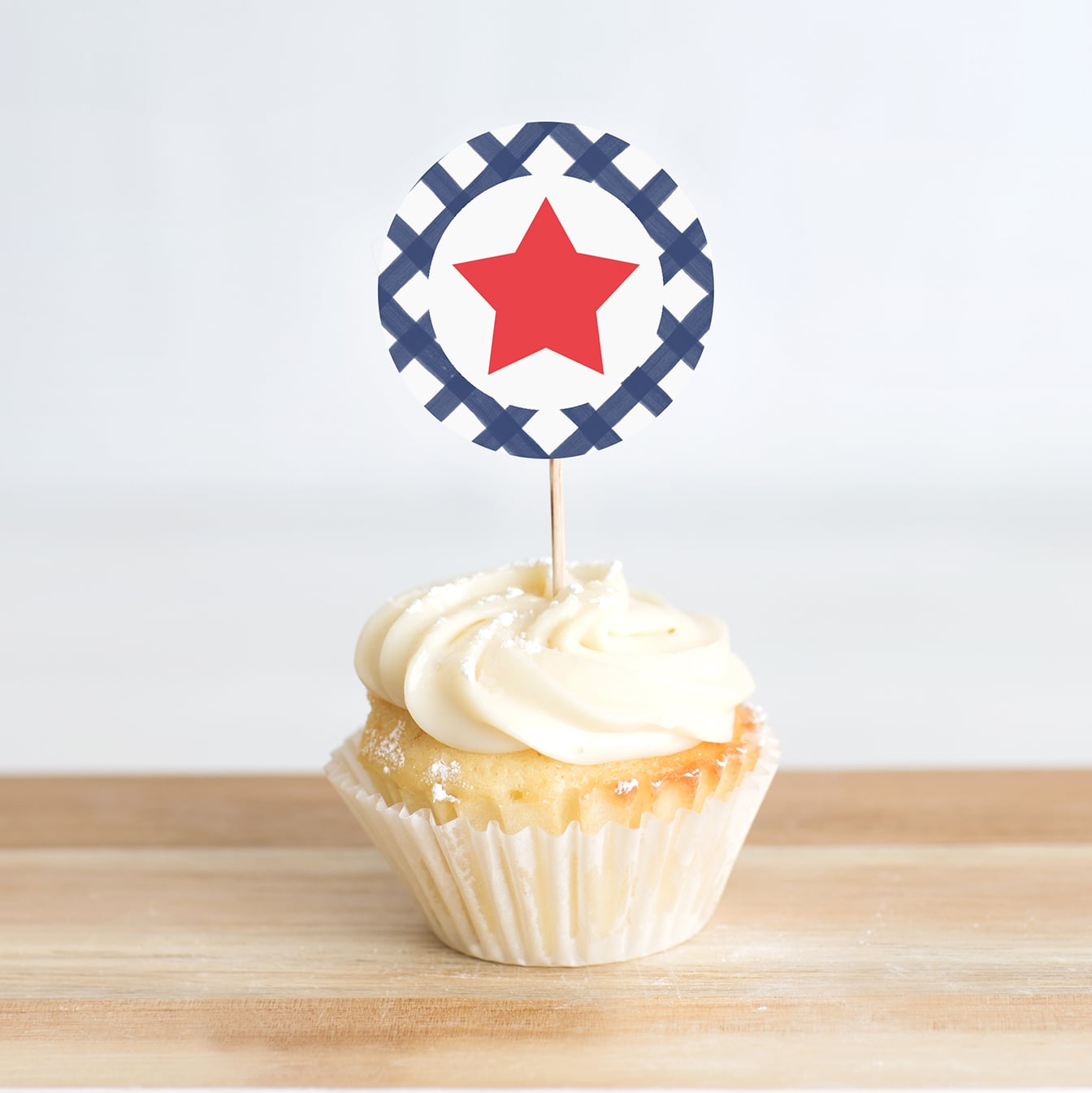 Patriotic Stars and Stripes Printable Cupcake Toppers