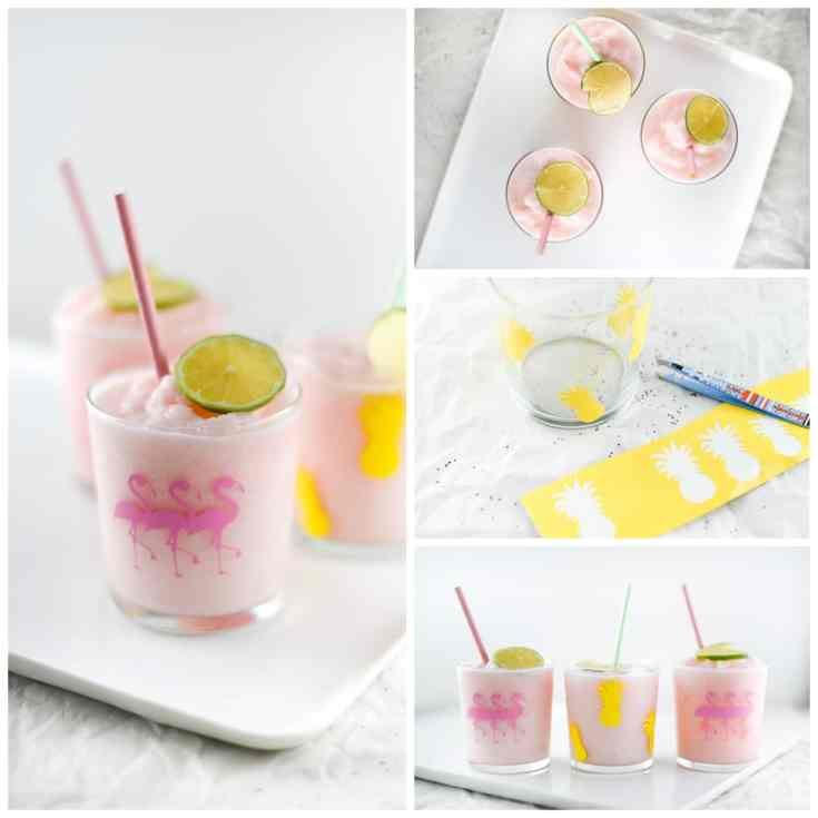 DIY Flamingo and Pineapple Drinking Glasses