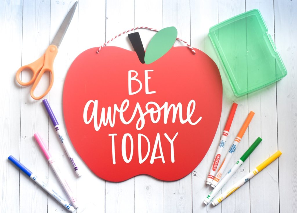 Free Be Awesome Today Teacher SVG for Back to School Cricut & Silhouette Crafts by Pineapple Paper Co.