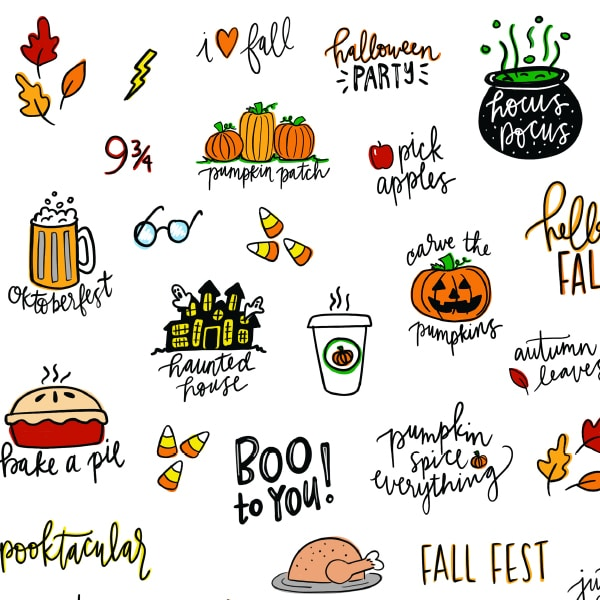 Printable Planner Stickers Perfect for Fall Hand Drawn and Hand Lettered by Pineapple Paper Co.