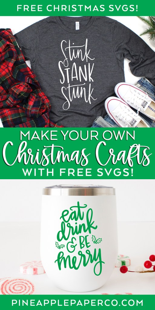 Free Christmas SVG Files with Grinch Shirt and DIY Wine Glass