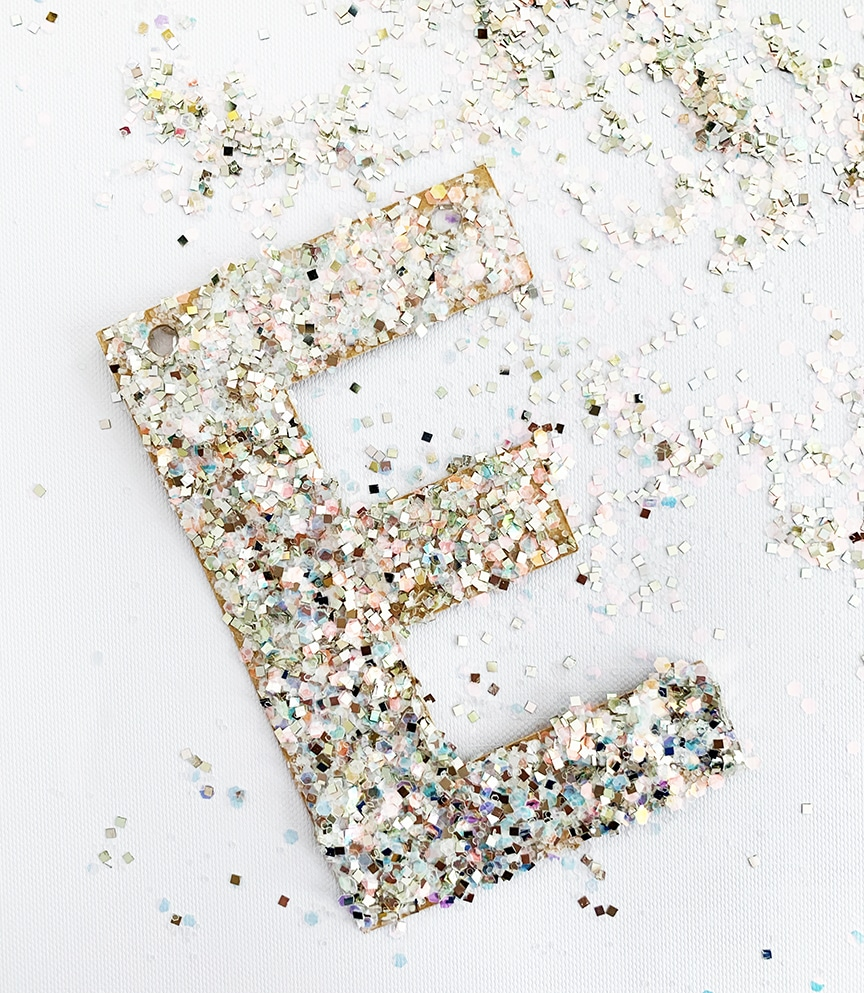 DIY Glitter Letter Christmas Ornament Quick and Easy Craft by Pineapple Paper Co.