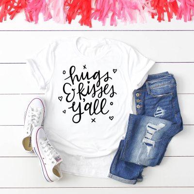 Free Hugs & Kisses Y'all Valentine SVG