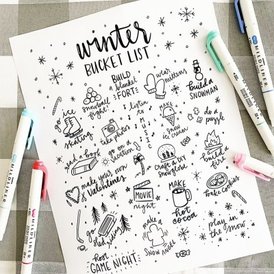 Printable Winter Bucket List Coloring Page