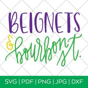 Beignets & Bourbon St. Mardi Gras SVG File by Pineapple Paper Co.