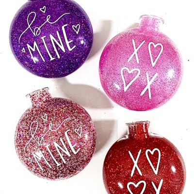 DIY Glitter Valentine Ornaments