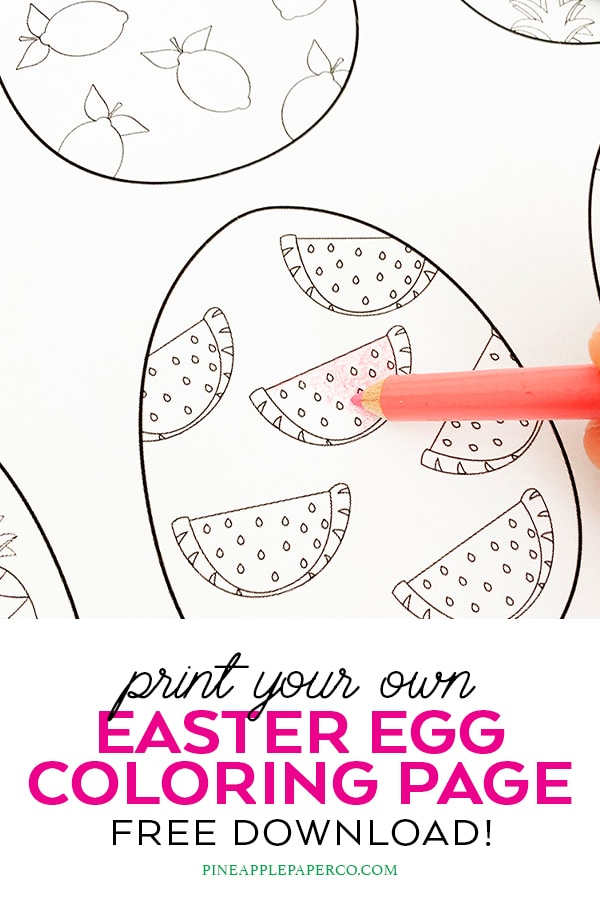 Free Easter Egg Coloring Pages by Pineapple Paper Co.