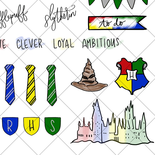 Harry Potter Hogwarts Houses Inspired Digital Printable Planner Stickers