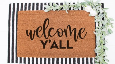 Welcome Y'all Doormat with Free SVG File for Cricut
