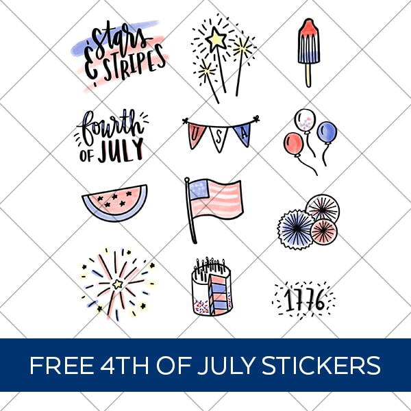 4th of July Patriotic Stickers PNG on Grid