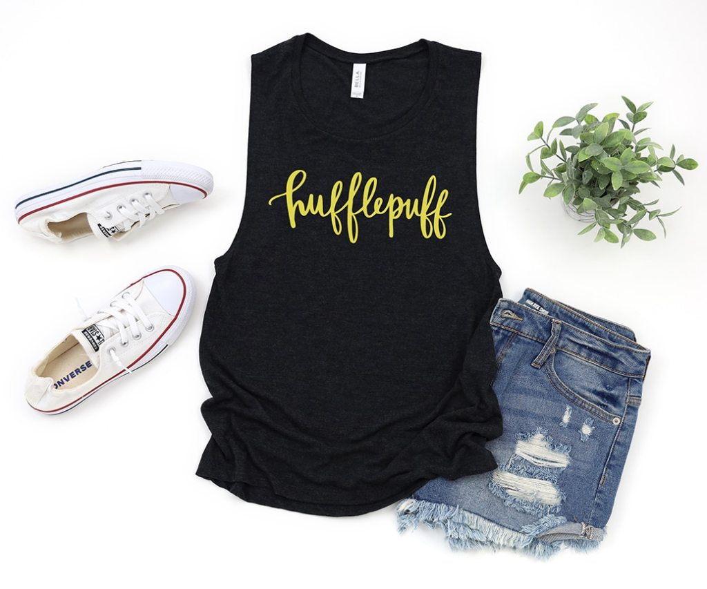 Hufflepuff Tank Shirt with Handlettered SVG File by Pineapple Paper Co.