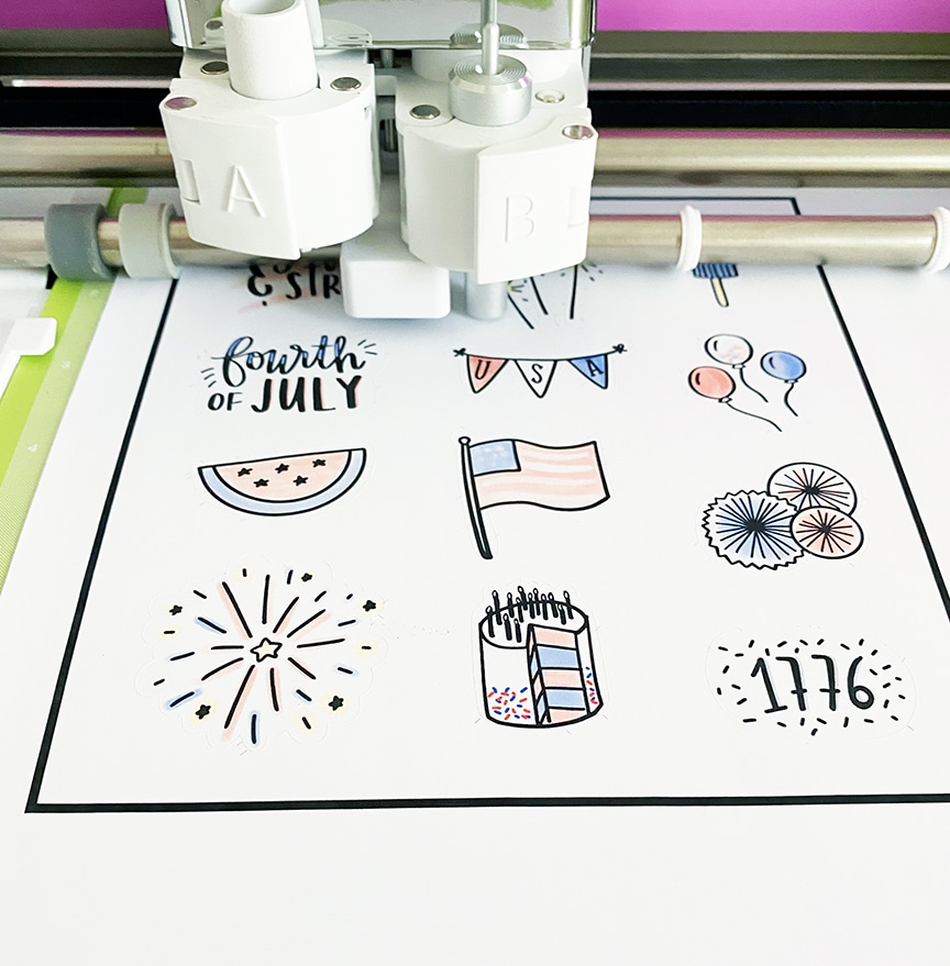 4th of July Patriotic Stickers on Cricut Explore Air 2 Print then Cut