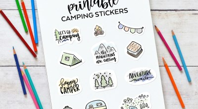 Printable Camping Stickers on Notebook