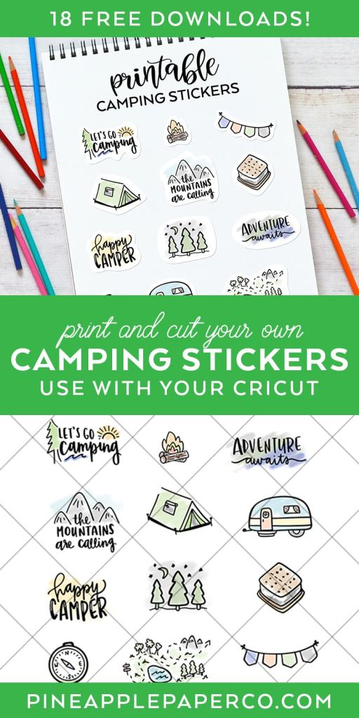 Printable Camping Stickers FREE Download at Pineapple Paper Co.