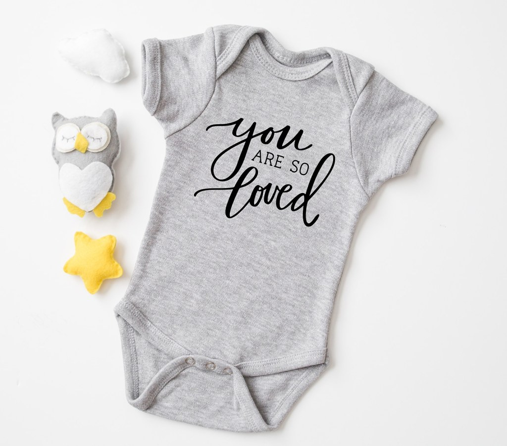You Are So Loved Harry Potter Baby Onesie Made with Cricut Free SVG by Pineapple Paper Co.
