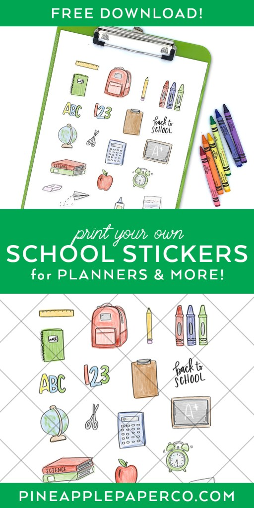 Free Printable Back to School Stickers from Pineapple Paper Co.