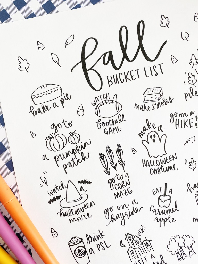 Fall Bucket List Coloring Page Close Up