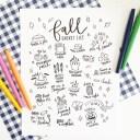 Fall Bucket List Coloring Page Printable