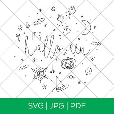 It's Halloween Single Line Draw SVG