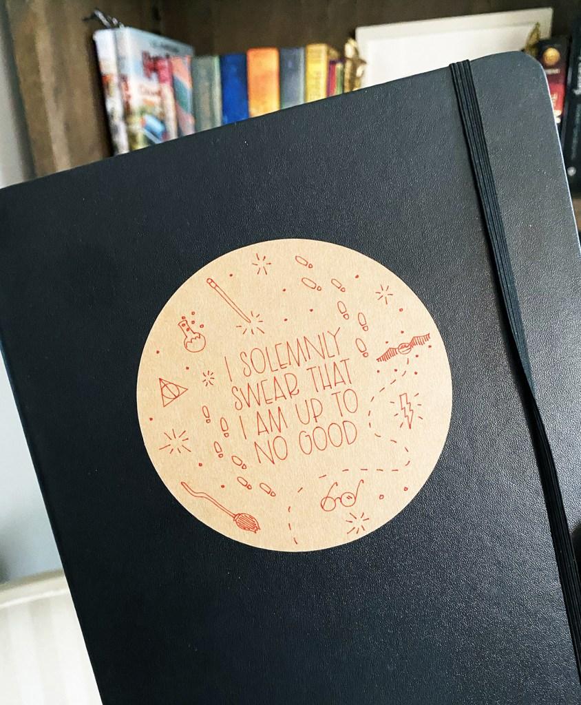 Harry Potter Cricut Sticker on Notebook
