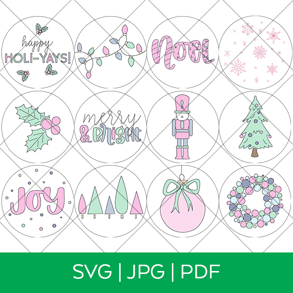 12 Christmas Ornament Single Line SVG Files