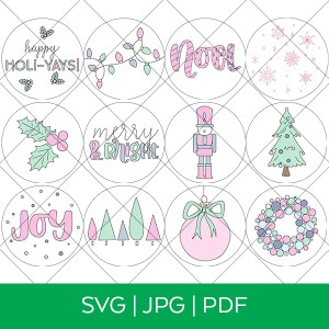 12 Christmas Ornament Single Line SVG Files