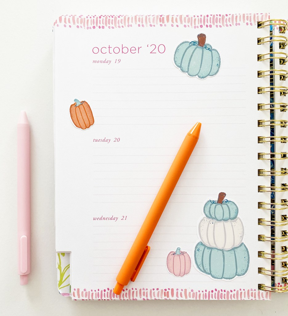 Free Printable Fall Pumpkin Stickers on Planner
