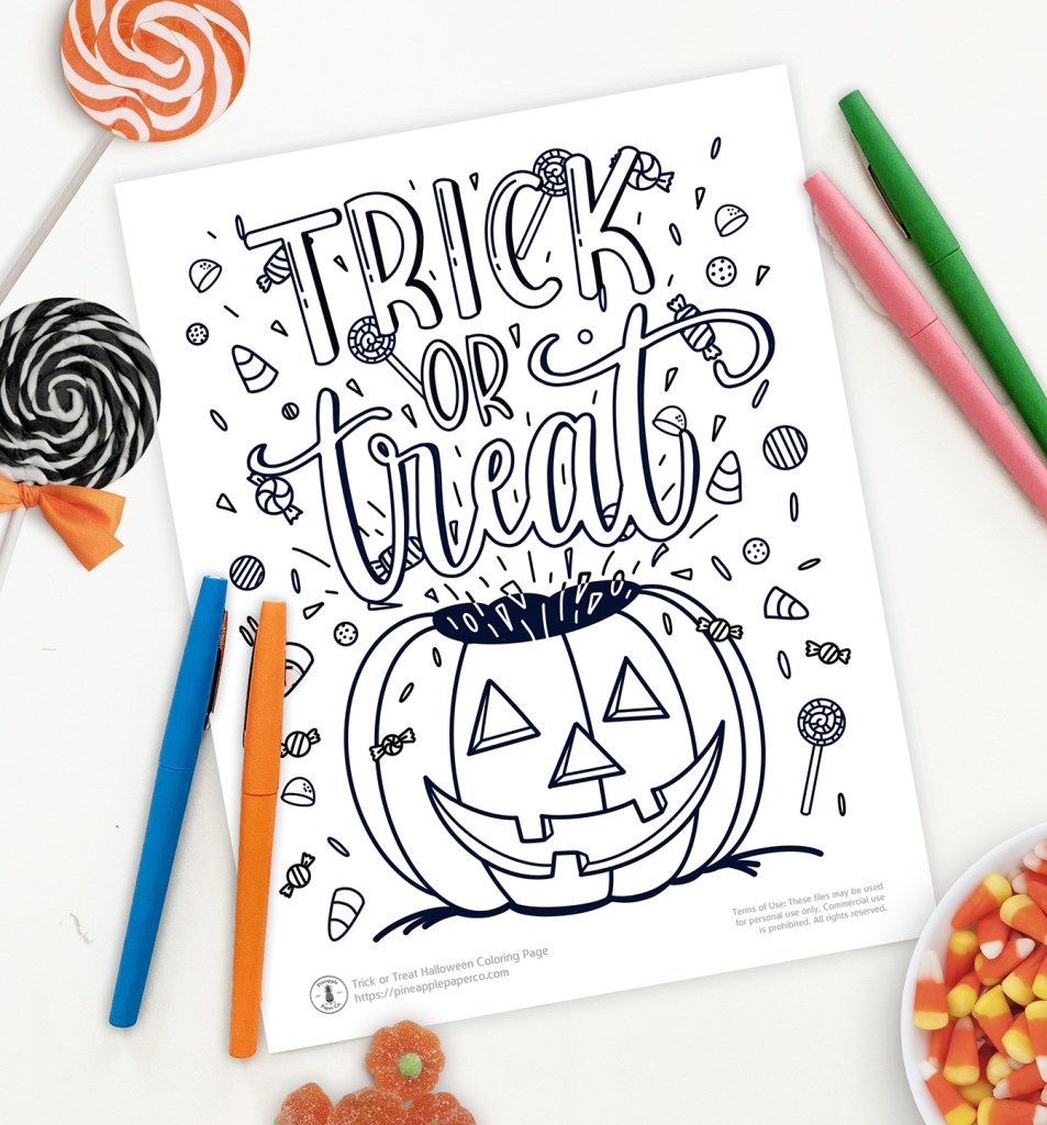 Free Printable Halloween Trick or Treat Coloring Page