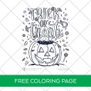 Free Printable Trick or Treat Coloring Page