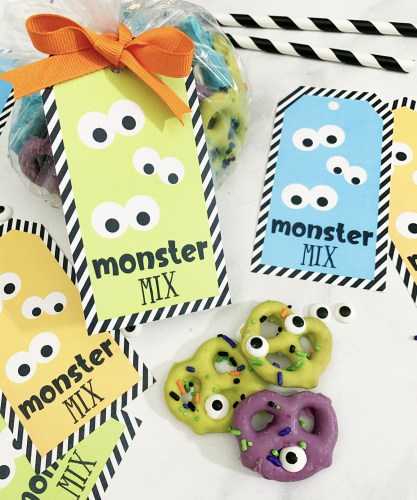 Monster Halloween Snack Mix Recipe and Free Printable Treat Tag
