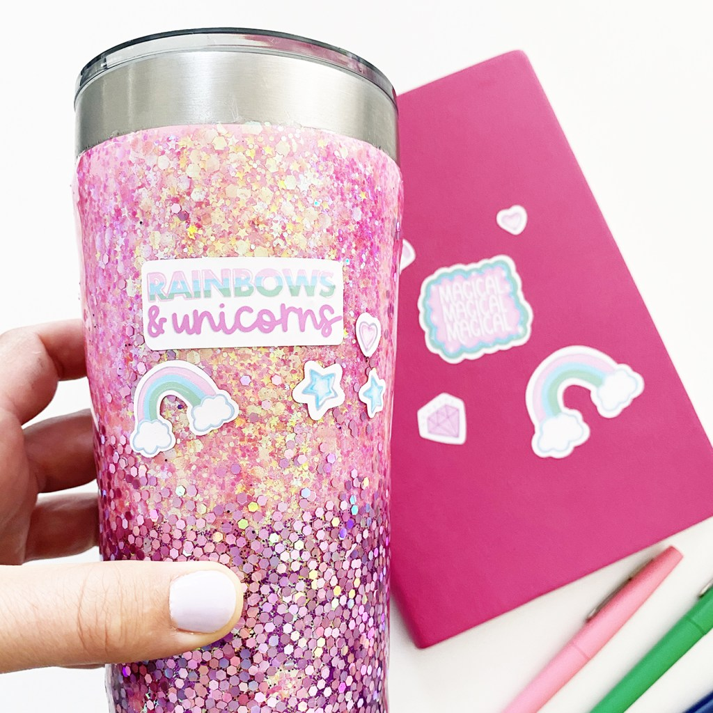 Free Printable Unicorn Stickers from Pineapple Paper Co. on a Glitter Tumbler