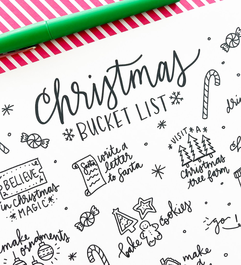 Christmas Bucket List Printable Coloring Sheet Close Up