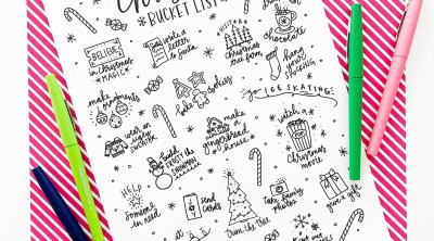 Christmas Bucket List Free Printable Coloring Sheet with Markers