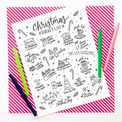 Printable Christmas Bucket List Coloring Page