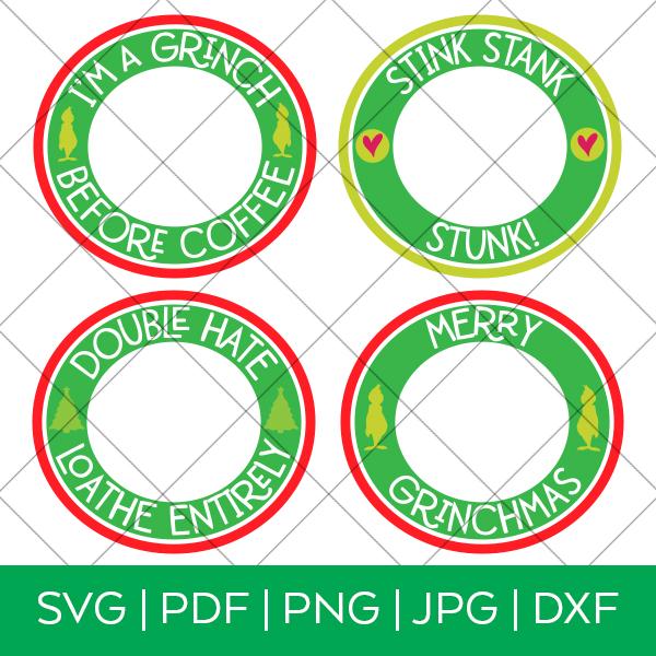 Grinch Starbucks Cold Cup SVG Labels