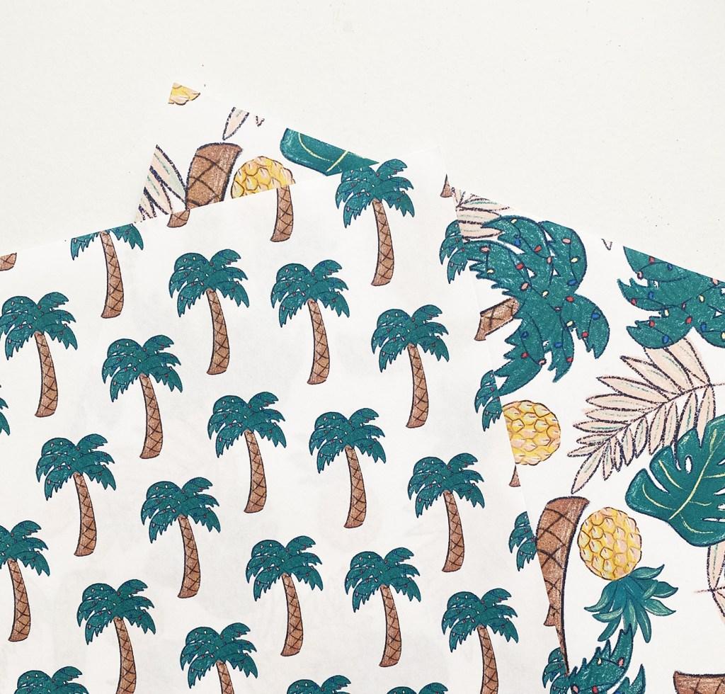 Tropical Christmas Printable Wrapping Paper