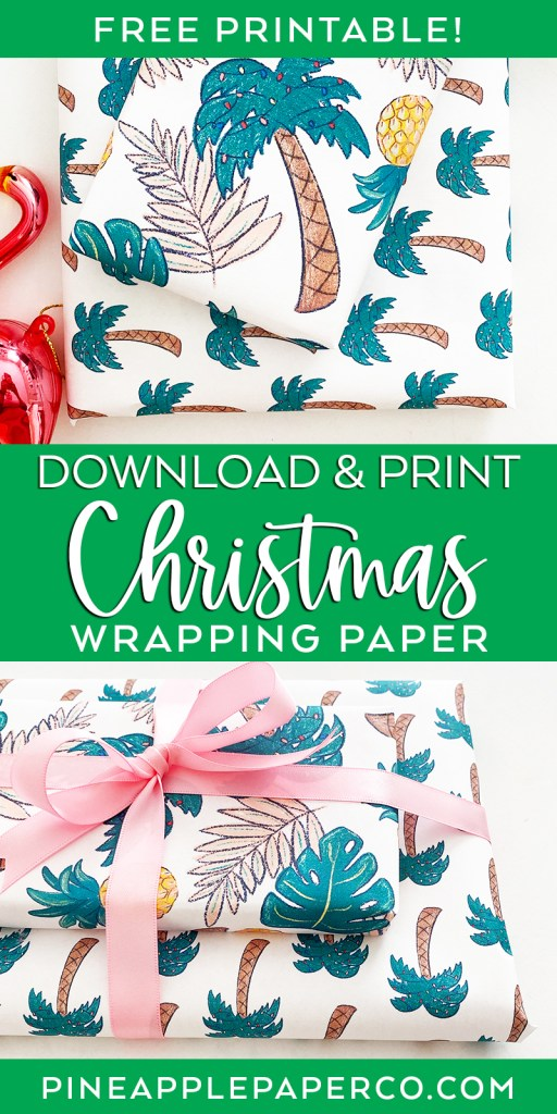 Download and Print Free Tropical Christmas Wrapping Paper