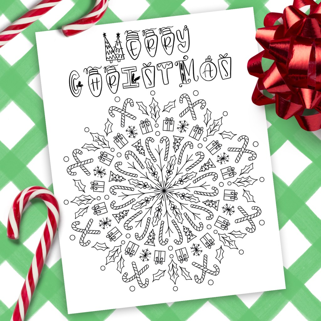 Printable Christmas Mandala Coloring Page Pineapple Paper Co