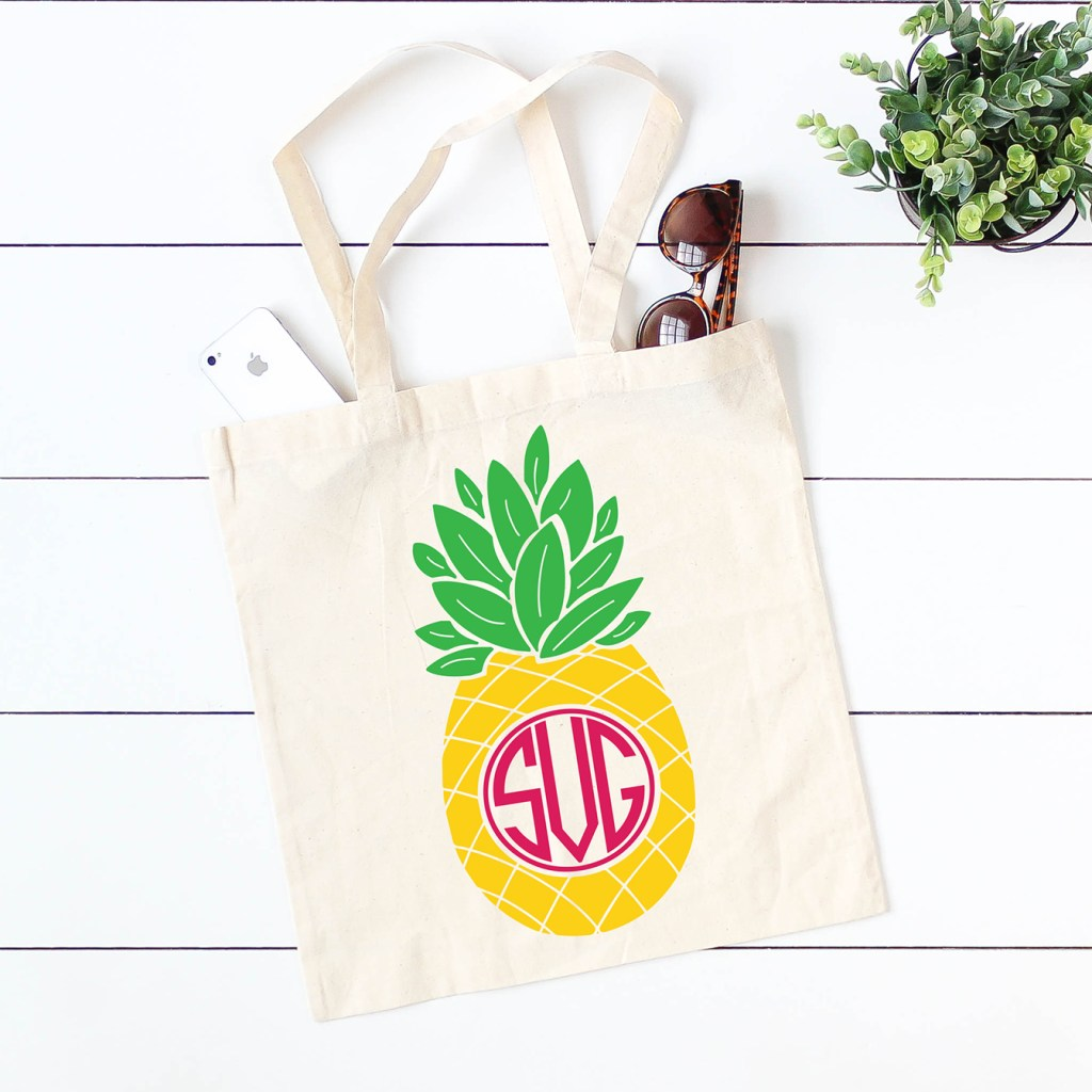 Monogrammed Pineapple Tote Bag made with Free Pineapple Monogram SVG plus 15 more FREE Monogram SVG Files for Cricut