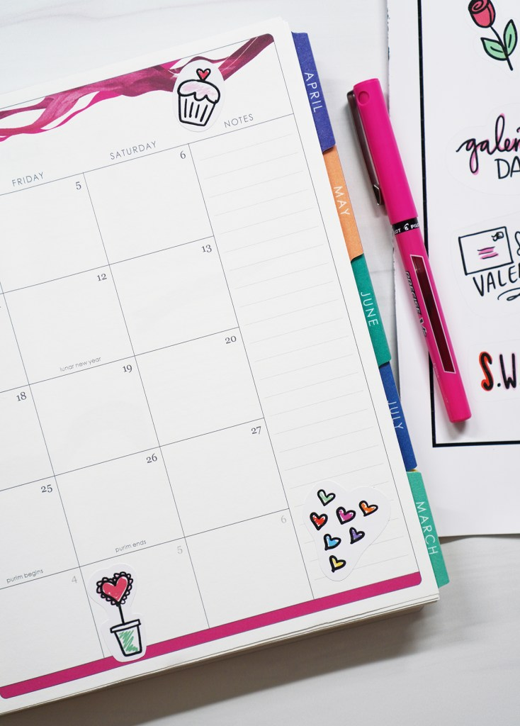 Printable Valentine Stickers in Planner with Pink Pen