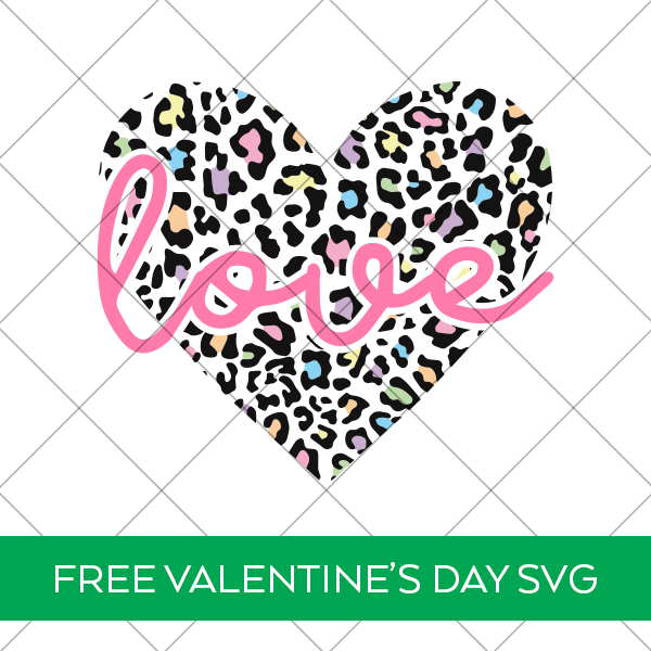 Pastel Valentine Leopard Print Heart with Love SVG File Free