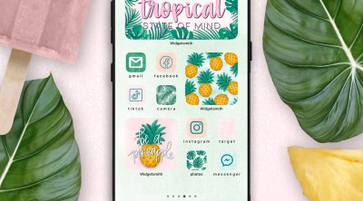 iphone with tropical aesthetic app icons and widget icons