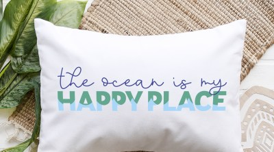 The Ocean is my Happy Place SVG File on White Rectangular Pillow