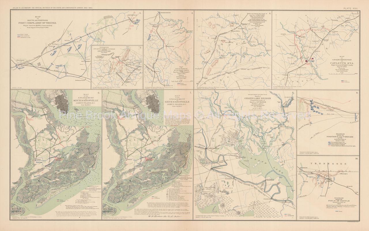 Secessionville South Carolina Campaign Civil War Antique Map Circa Original