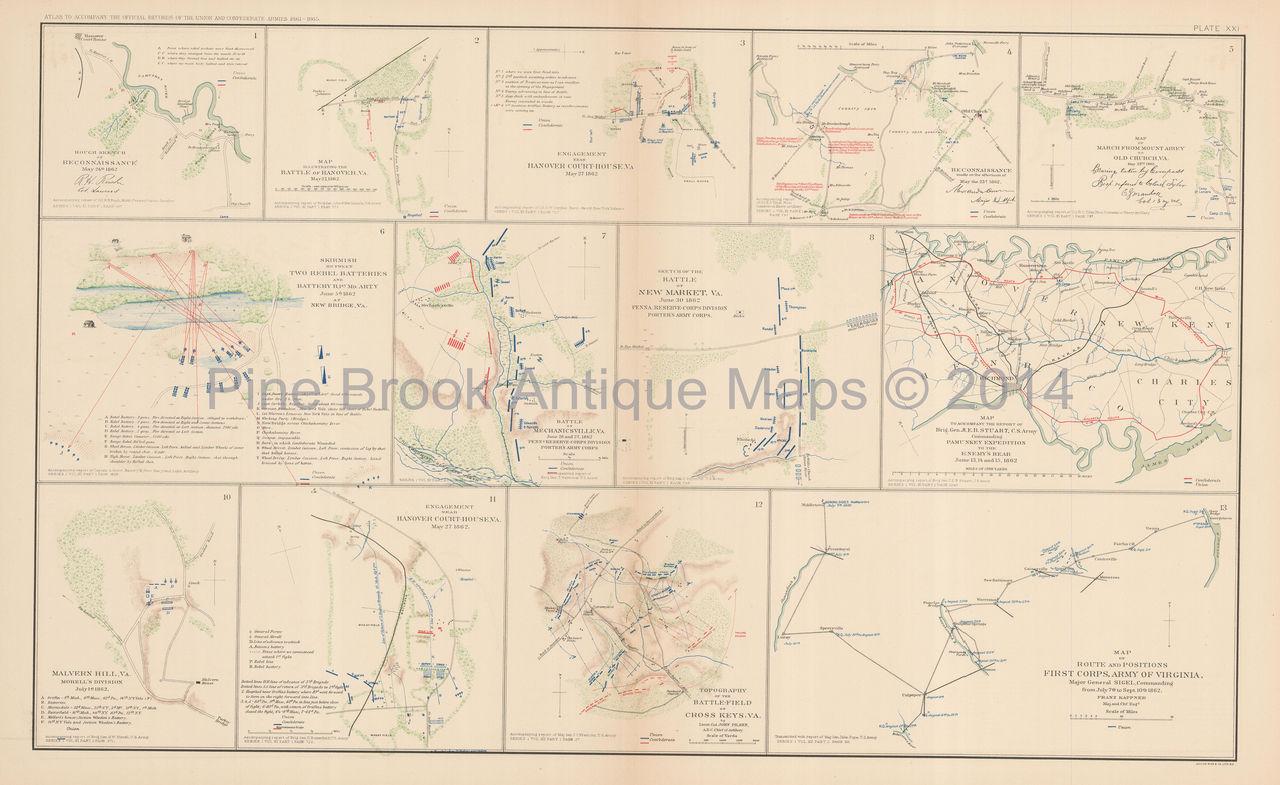Peninsular Campaign N Virginia Civil War Antique Map Original