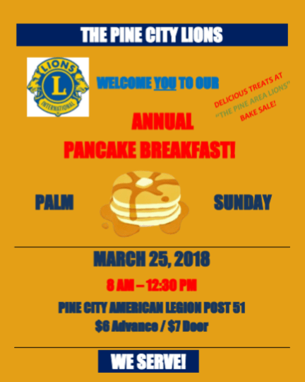 Flyer for PC Lions Pancake Breakfast on March 25