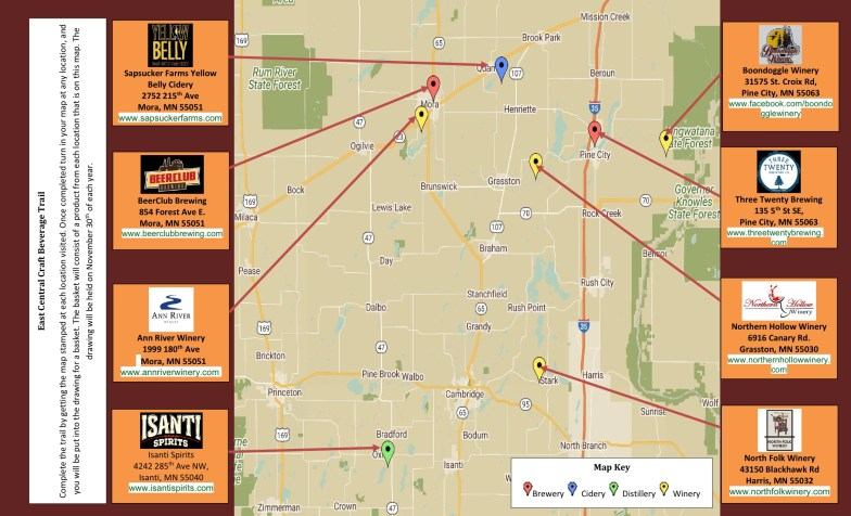 Trail Map for the East Central Beverage Tour