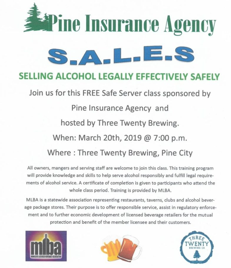 Flyer for Safe Server class offered by Pine Insurance Agency on March 20th.