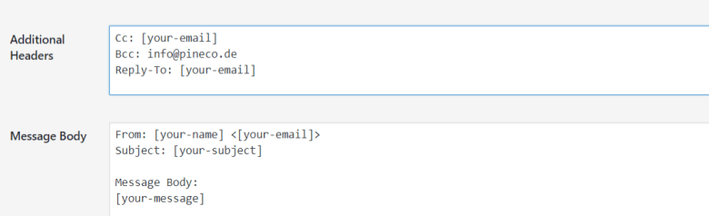 This image shows where you can set the additional headers in Contact Form 7.