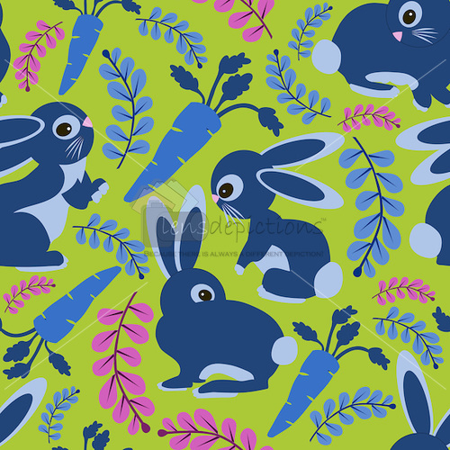 Seamless pattern tile vector with bunnies and carrots.